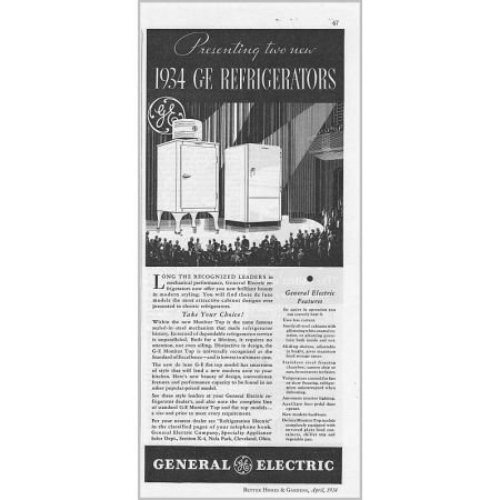1934 General Electric Refrigerators Vintage Print Ad - Monitor Top