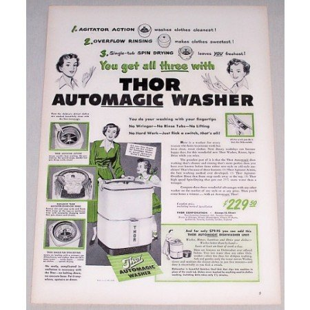1948 Thor Automatic Washer Color Print Ad - You Get All Three