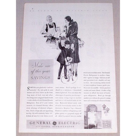 1931 General Electric All Steel Refrigerator Vintage Print Ad