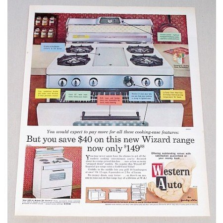 1963 Western Auto Wizard 30 Imperial Gas Range Color Print Ad