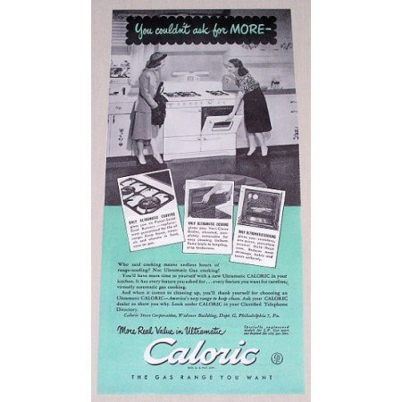 1948 Caloric Ultramatic Gas Range Color Print Ad - Real Value