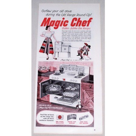 1952 Magic Chef Golden Jubilee Gas Range Color Print Ad