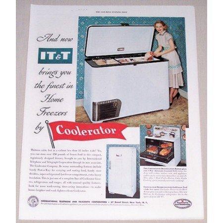 1952 IT T Coolerator Home Freezer Color Print Ad