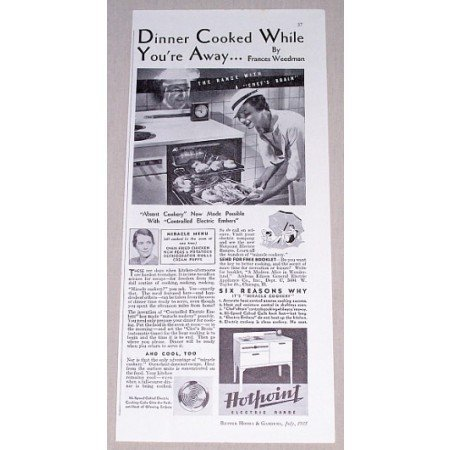 1935 Hotpoint Electric Range Vintage Print Ad - Dinner Cooked