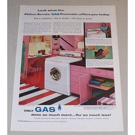 1957 Philco Bendix Gas Duomatic Washer Dryer Color Print Ad