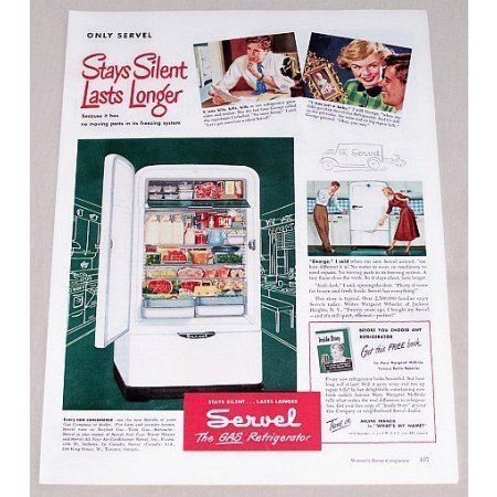 1949 Servel Gas Refrigerator Color Print Ad - Last Longer