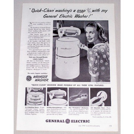 1948 General Electric Wringer Washer Vintage Print Ad - Washing A Snap