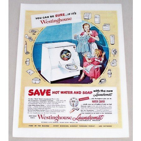 1949 Westinghouse Laundromat Automatic Washer Color Print Ad