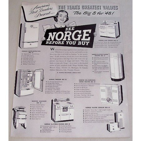 1948 Norge Appliances Vintage Print Ad - Years Greatest Values