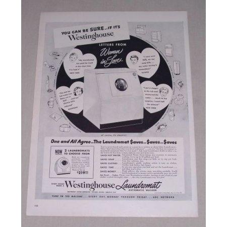 1949 Westinghouse Laundromat Automatic Washer Vintage Print Ad