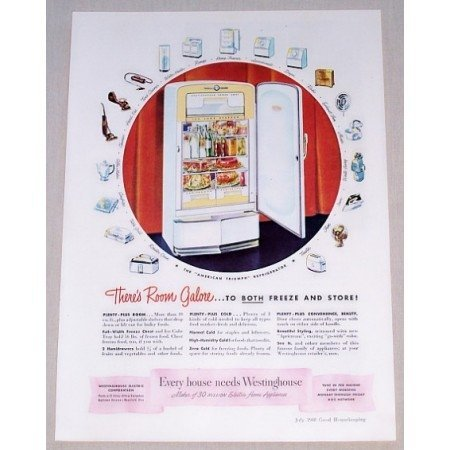 1948 Westinghouse American Triumph Refrigerator Color Print Ad