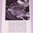 1943 Fostoria Colony Pattern Crystal Glassware Vintage Print Ad