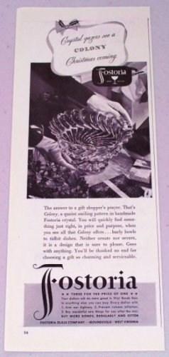 1943 Fostoria Colony Pattern Crystal Glassware Vintage Print Ad