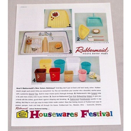 1960 Rubbermaid Household Products Color Print Ad