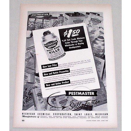 1950 Pestmaster Aerosol Insect Bomb Vintage Print Ad