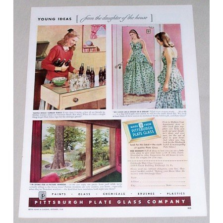 1948 Pittsburgh Plate Glass Co. Windows Mirrors Color Print Ad