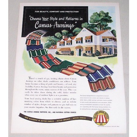 1949 Outdoor Canvas Awnings Color Print Ad