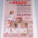 1954 PFAFF Dial-A-Stich Zig Zag Sewing Machine Color Print Art Ad