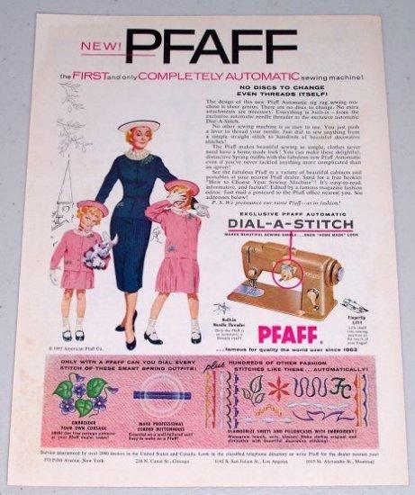 1955 Pfaff Automatic Zig Zag Sewing Machine Color Print Ad