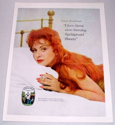 1960 Springmaid Fabrics Color Print Ad Celebrity Connie Russell