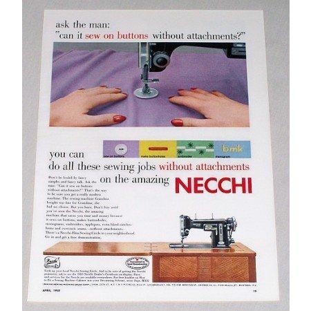 1953 Necchi Sewing Machine Color Print Ad - Ask The Man