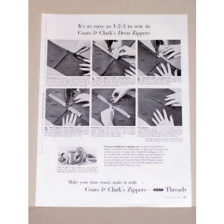 1957 Coats and Clark's Zippers Vintage Sewing Print Ad