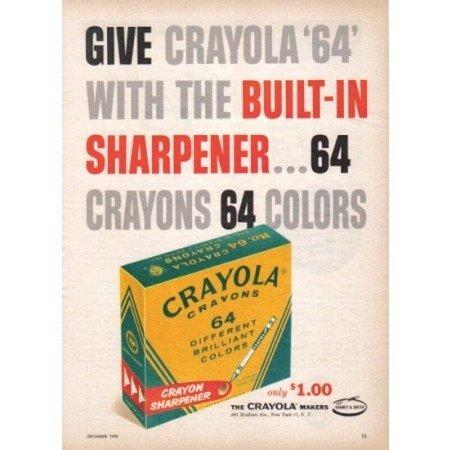 1958 Crayola 64 Crayons Vintage Color Print Ad
