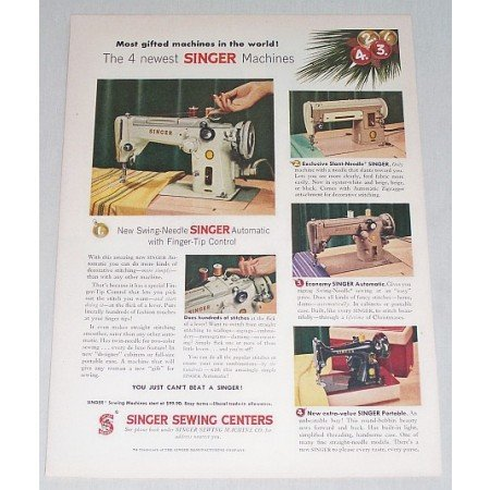 1956 Singer Sewing Centers Color Print Ad - Swing Needle Singer