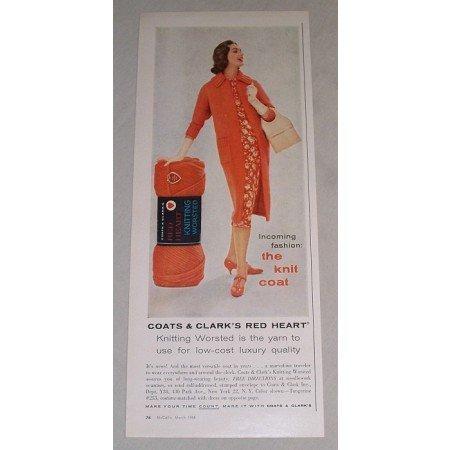 1958 Coats Clark's Red Heart Knitting Yarn Color Print Ad