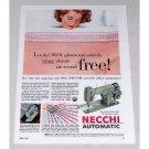 1955 Necchi Automatic Sewing Machine Color Print Ad