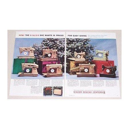 1961 Singer Sewing Machines 2 Page Color Vintage Print Ad