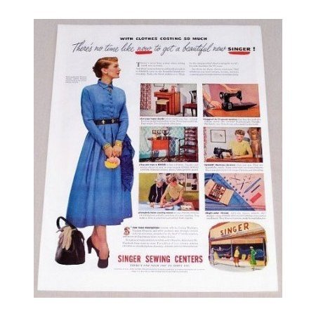 1949 Singer Sewing Centers Woman Blue Dress Color Print Ad