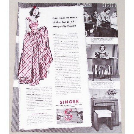 1941 Singer Sewing Machine Co. Vintage Print Ad - Four Times As Many