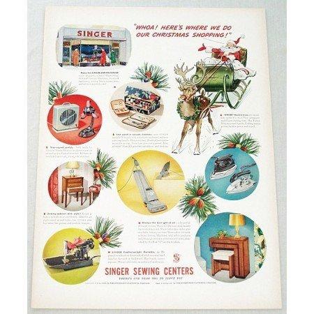 1948 Singer Sewing Centers Color Santa Christmas Art Print Ad - Christmas Shopping