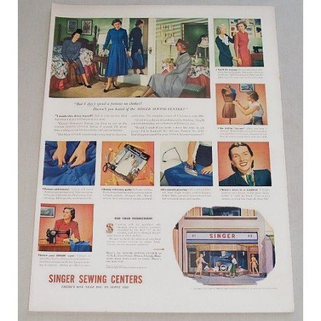 1948 Singer Sewing Centers Color Print Ad - Don't Spend A Fortune