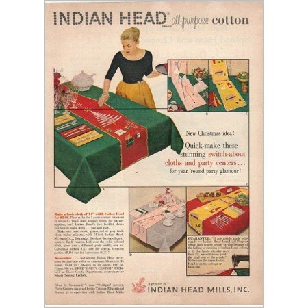 1955 Indian Head All-Purpose Cotton Color Fabric Print Ad