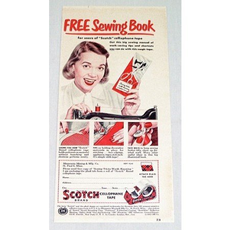 1952 Scotch Tape Free Sewing Book Offer Color Print Ad