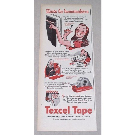 1946 Textel Cellophane Tape Color Print Art Ad - Hints For Homemakers