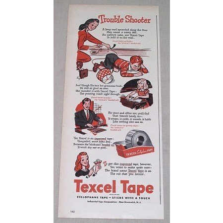 1946 Textel Cellophane Tape Vintage Print Art Ad - Trouble Shooter