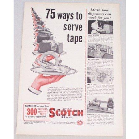 1955 Scotch Brand Tape Color Print Ad - 75 Ways To Serve