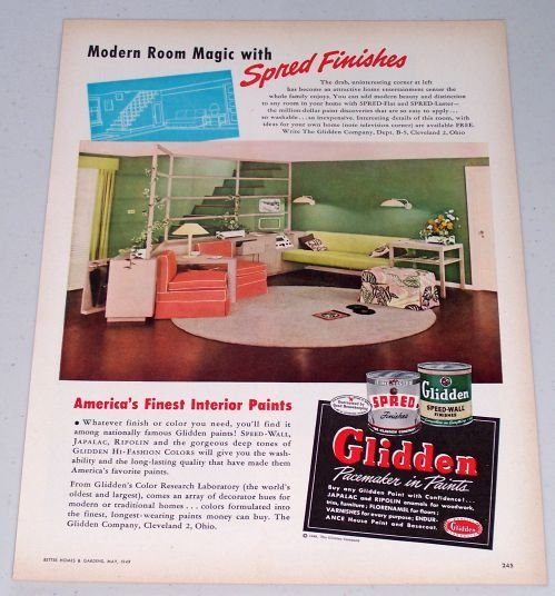 1949 Glidden Interior Paint Color Print Ad - Modern Room Magic