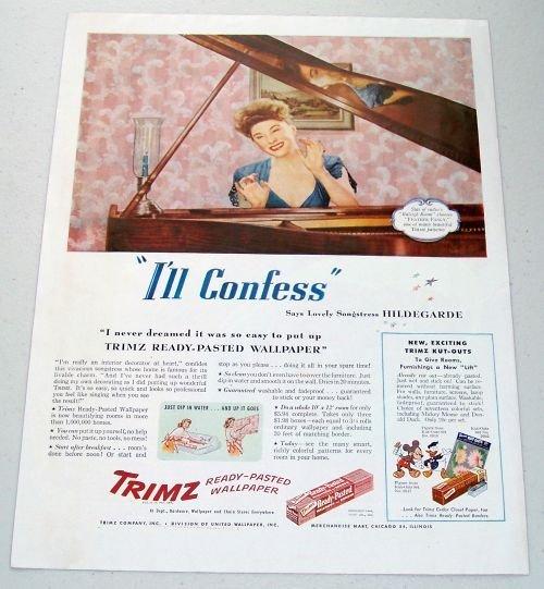 1945 Trimz Wallpaper Color Ad Celebrity Songstess Hildegarde