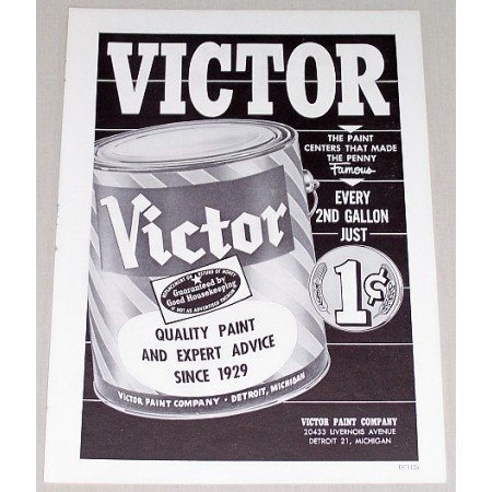 1961 Victor Quality Paint Vintage Print Ad Made The Penny Famous
