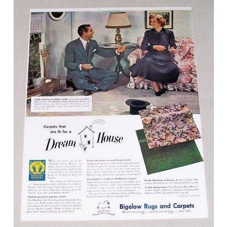 1948 Bigelow Carpet Color Print Ad Celebrity Cary Grant Myrna Loy