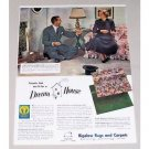 1948 Bigelow Carpet Color Print Ad Celebrity Cary Grant Myrna Loy
