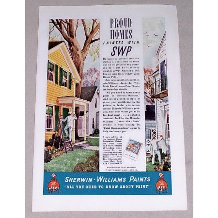 1937 Sherwin Williams Paints Color Print Ad - Proud Homes