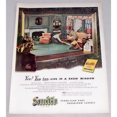 1947 Smith Rugs Carpets Color Print Art Ad - Your Home Store