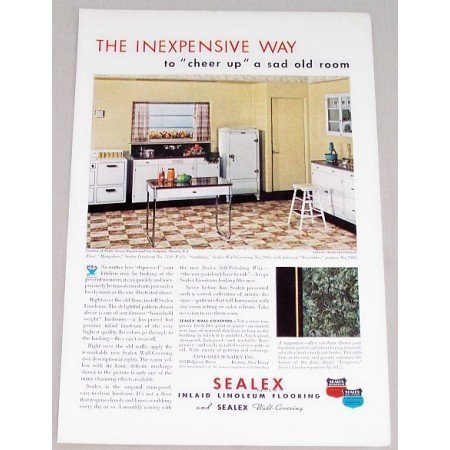 1934 Sealex Inlaid Linoleum Flooring Vintage Color Print Ad