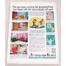 1956 Pittsburgh Rubberized Wallhide Satin Paints Color Print Ad