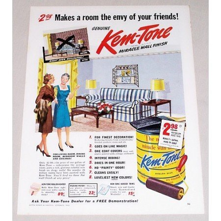 1945 Kem-Tone Avalon Blue Wall Paint Color Print Ad